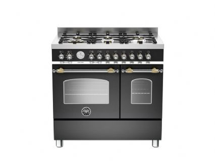 90cm Bertazzoni Heritage 6 burners and 2 electric ovens in Matt Black HER90-6-MFE-D-NET